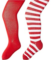 Jefferies Socks - Seamless Organic Cotton Solid Tights + Red/White Stripe Tights Pack (Toddler/Little Kid/Big Kid)
