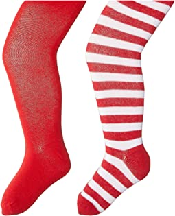 Seamless Organic Cotton Solid Tights + Red/White Stripe Tights Pack (Toddler/Little Kid/Big Kid)