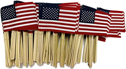 6pcs 4/'/'x6/'/' American Flag US USA Stars Sewn Stripes Hand Held with Wooden stick