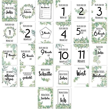 Geschenkbox I Die wichtigsten Meilensteine der ersten 12 Monate ideal als Geschenk f/ür werdende M/ütter und V/äter I Geburt Babyparty 40 Baby Meilensteinkarten erstes Lebensjahr als Erinnerungskarten