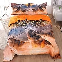 Beddinginn A Lone Wolf Howling in The Wilderness Tencel Cotton 3-Piece Comforter Sets