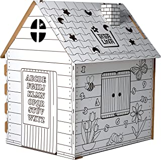 Cardboard Playhouse – Coloring Indoor Outdoor Playhouse for Toddler Boys and Girls Age 1-10 Years Old - Learn Numbers & Al...