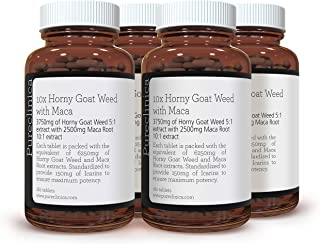 10X Horny Goat Weed Extract (3750mg) Maca Extract (2500mg) x 720 Tablets - (4 Bottles of 180 Tablets) with 5mg Black Peppe...