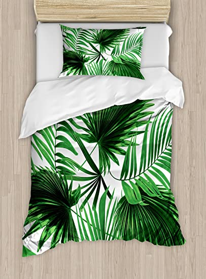 Ambesonne Palm Leaf Duvet Cover Set Queen Size Realistic Vivid Leaves Of Palm Tree Growth Ecology Lush Botany Themed Print Decorative 3 Piece Bedding Set With 2 Pillow Shams Fern Green White