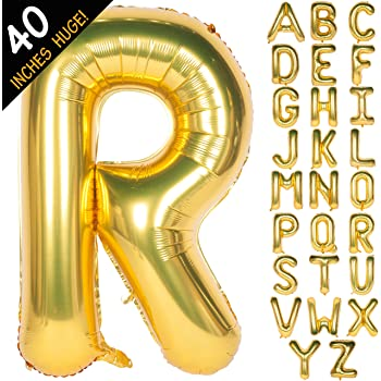 """Letter Balloons 40 Inch Giant Jumbo Helium Foil Mylar for Party Decorations Gold (40"""" R, 40"""" Gold)"""