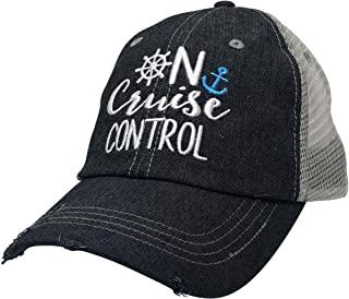On Cruise Control Embroidered Baseball Hat Mesh Trucker Style Hat Cap Cruise Vacation Dark Grey