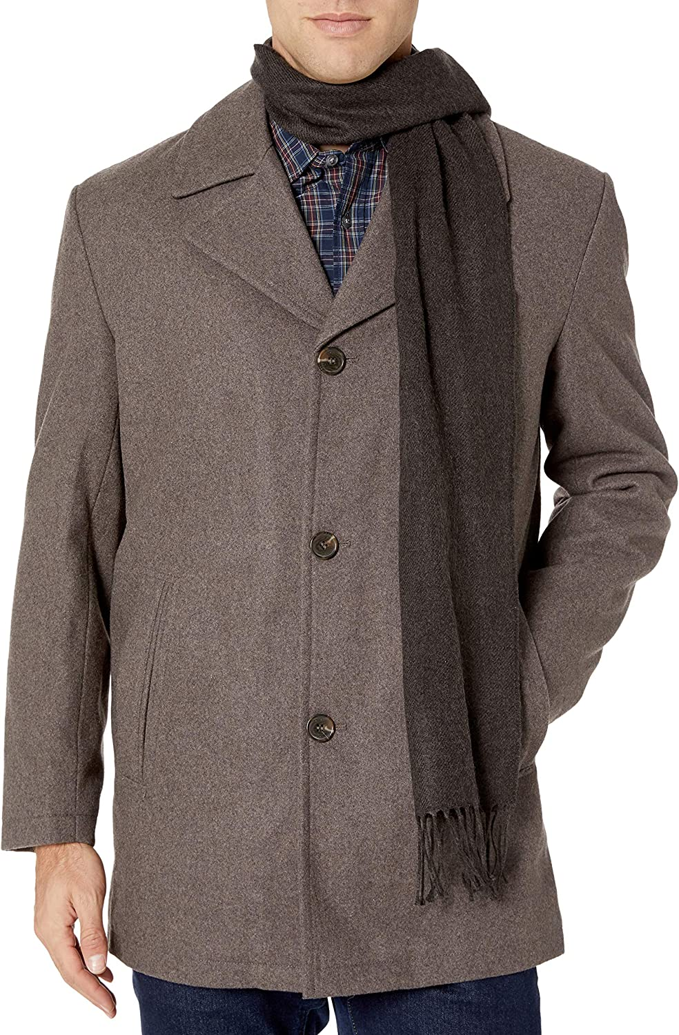 """LONDON FOG Men's Amity 34"""" Wool Blend Car Coat with Scarf at  Men's Clothing store"""