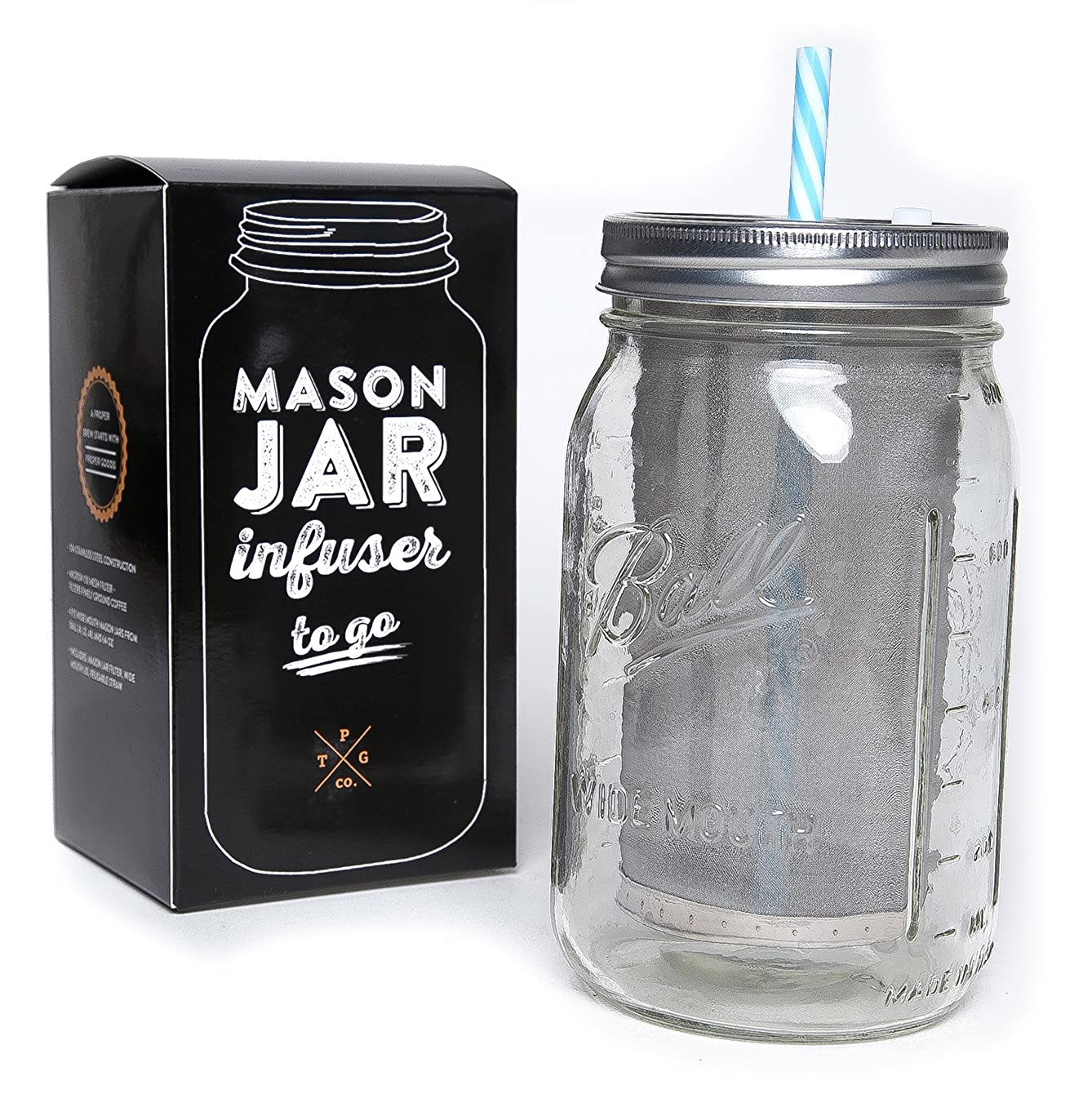 Mason Jar Filter Kit - Includes Filter, Lid, And Straw, Mason Jar Sold Separately