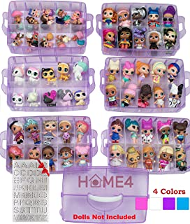 HOME4 Stackable Storage Container - Toy Organizer Case - 6 Layers 60 Adjustable Compartments - Perfect for Small Dolls and Toys - Dolls Not Included (Purple Glitter)