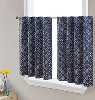 HLC.ME Franklin Moroccan Trellis Thermal Insulated Blackout Decorative Back Tab Tailored Window Curtain Tiers for Kitchen,...