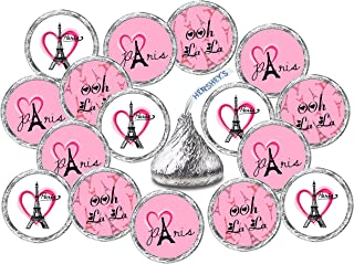 324 Paris Kisses Stickers Labels, Eiffel Tower Pink Kisses Stickers for Birthday Party, Wedding, Baby Shower, Pink Paris Themed Hershey's Kisses Party Favors