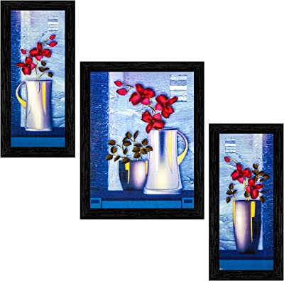 Indianara Set of 3 Red Flowers in the Pot Framed Art Painting (909BK) without glass 6 X 13, 10.2 X 13, 6 X 13 INCH