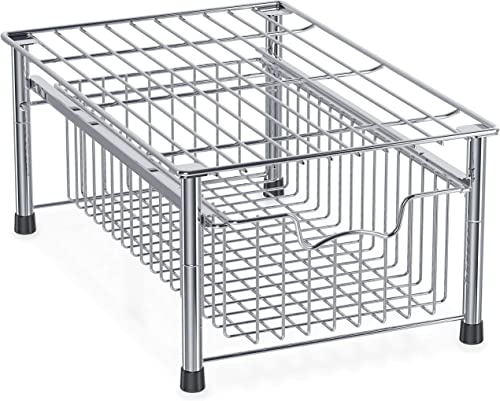 discount Simple online sale Houseware high quality Stackable Basket Drawer, Chrome online