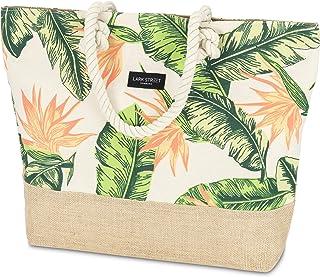 LARK STREET Strandtasche Floral Peach Beach Bag für Damen & Herren aus robustem Baumwoll Canvas & Jute - Badetasche mit br...