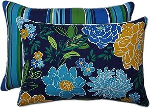 وسادة مثالية في الهواء الطلق | وسادة أريكة مستطيلة الشكل للأماكن المغلقة باللون الأزرق/جزيرة البحر (مجموعة من 2)، 24.5 × 1...