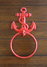 Towel Ring Apple Red or Pick Color Cast Iron Anchor Towel Hanger Nautical Decor Cottage Beach Design Bathroom or Kitchen Accessory