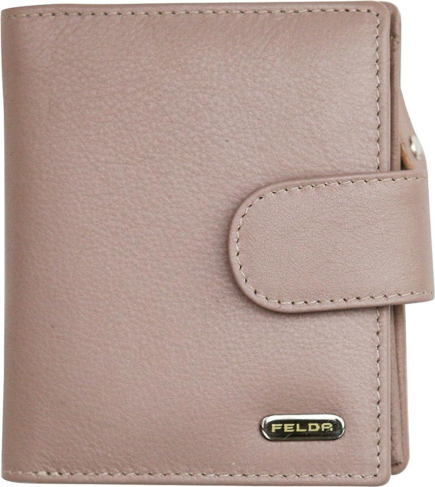 Felda portafoglio da donna in pelle porta carte di credito con protezione anticlonazione 16-103 Oyster