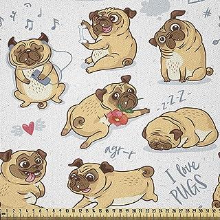 ABAKUHAUS Amoureux des chiens Tissu au mètre, Humour drôle de bande dessinée roquets, Tissu en Microfibre Décoratif pour T...