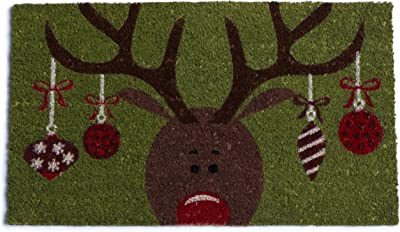 DII Reindeer with Ornaments Holiday Doormat