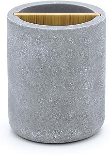 Ridder 2240207 Cement - Vaso para cepillos de Dientes (polirresina, bambú), Color Gris