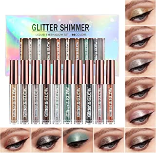 10 Colors Liquid Glitter Eyeshadow Set, Metallic Glitter Shimmer Naked Smokey Eye Looks Waterproof Long Lasting Quick-Dryi...