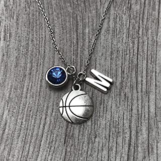Personalized Basketball Necklace with Letter & Birthstone Charm, Basketball Jewelry, Perfect Gift for Basketball Players
