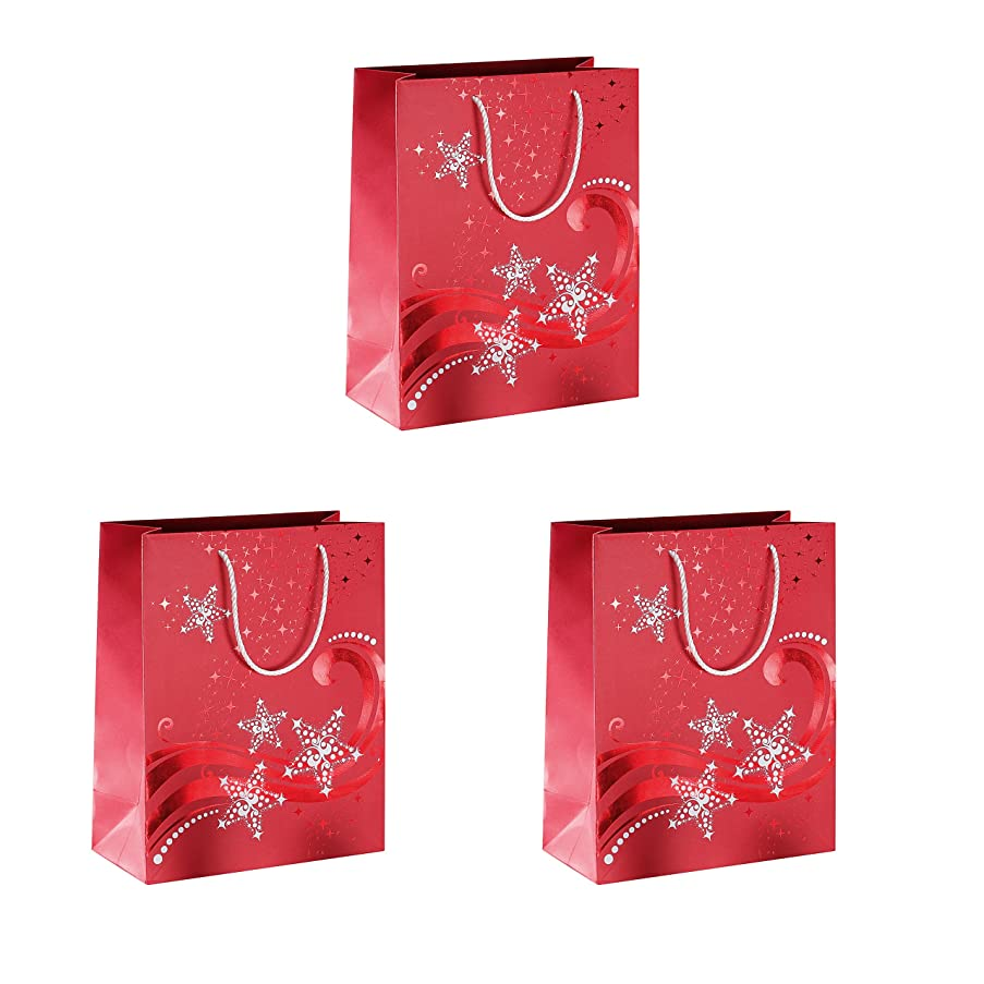 Sigel GT108 Christmas Gift Bag Small, Design 'Wave', 17.5 x 23 x 10 cm, 3 Pieces, Premium-Edition with hot foil Embossing in Glossy red and White