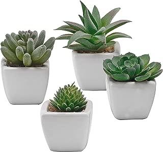 Miniature Mixed Artificial Succulent Plants in Square White Ceramic Planter Pots, Set of 4