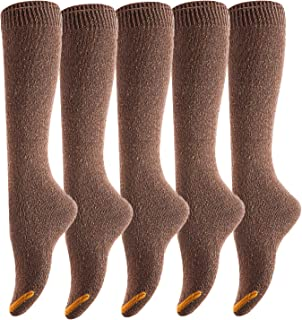 Lovely Annie Women's 5 Pairs Pack Knee High Cotton Socks Size(Coffee)