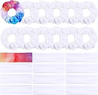 WATINC 24 Pcs WhiteScrunchiesHairbands forTieDye DIY Plain Cotton Hair Scrunchie Elastic Headband Scrunchy Traceless H...