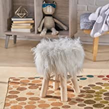 Christopher Knight Home Lang Stool with Furry Plush, White, Natural