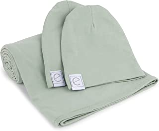 Cotton Knit Jersey Swaddle Blanket and 2 Beanie Baby Hats Gift Set, Large Receiving Blanket by Ely's & Co (Sage)