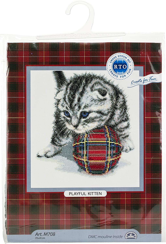 Rto Counted Cross Stitch Kit 7.87 X7.87 Playful Kitten (14 Count)