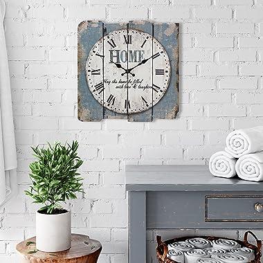 "Stonebriar SB-6158A Worn Blue 15"" Square White Wall Clock"
