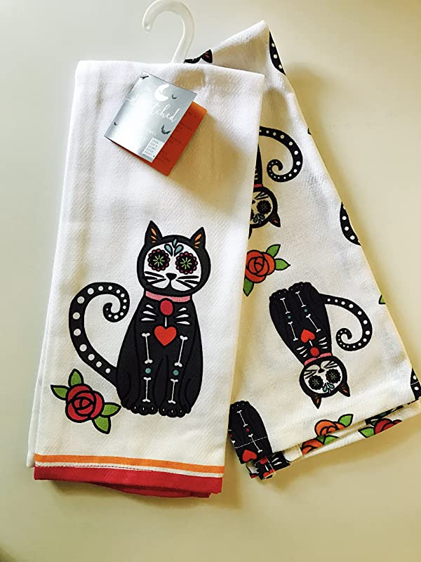 Set Of 2 Sugar Skull Cat Kitchen Towels