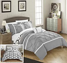 Chic Home Marcia 4 Piece Reversible Comforter Set Super Soft Microfiber Pinch Pleated Ruffled Design with Geometric Patterned Print Bedding with Decorative Pillows Shams, King Grey