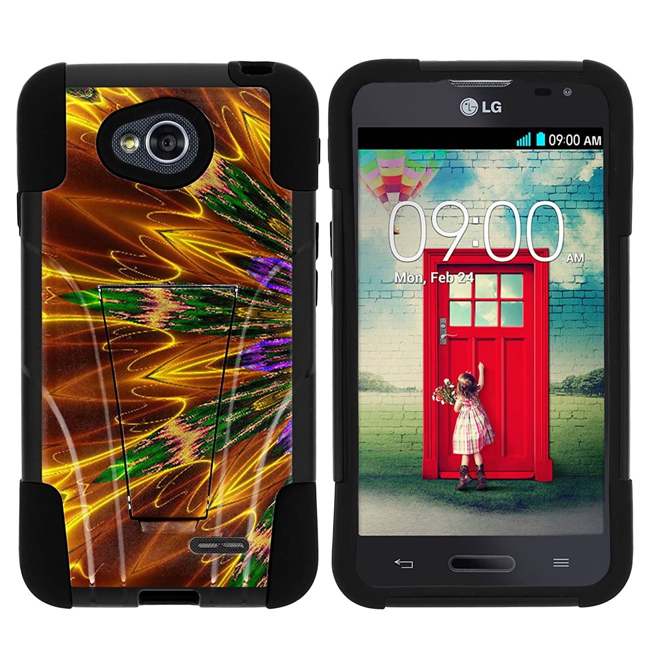 MINITURTLE Case Compatible w/ LG Ultimate 2 Phone Case, Durable Hybrid STRIKE Impact Stand Case w/ Art Designs for LG Optimus L70 MS323, LG Optimus Exceed 2 VS450PP, LG Ultimate 2 L41C from MINITURTLE Kaleidoscopic Phoenix