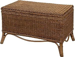 Elegante Wäschetruhe aus echtem Rattan / Truhe in der Farbe Vintage Braun - Versandkostenfrei in DE