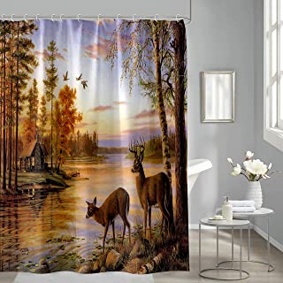 Deer Shower Curtain, Autumn Nature Scene Tree Forest Animals Deer Shower Curtain for Bathroom, Aesthetic Tropical Plant Fa...