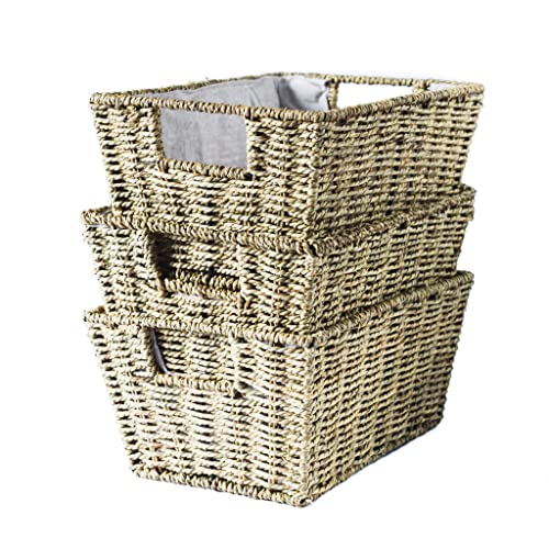 410bcf8b318ca1 Woven Seagrass Basket Set of 3 - Fabric Lining