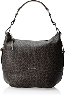 Calvin Klein Women's Hudson Monogram Hobo Shoulder Bag, Brown/Khaki Monogram