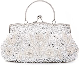 Beaded Sequin Design Flower Wedding Evening Purse Vintage Large Clutch Bag