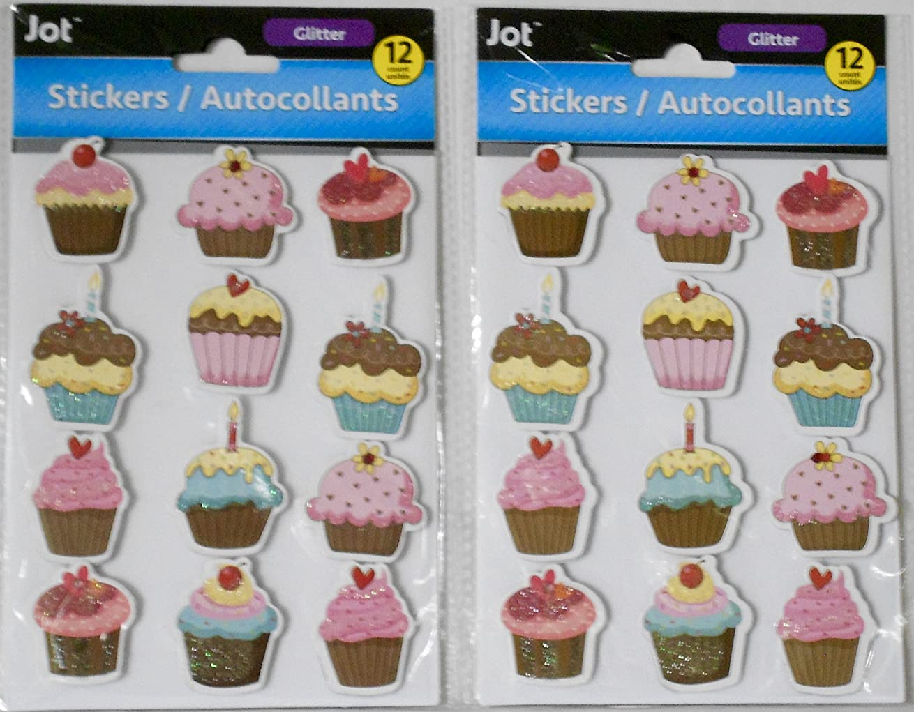 2 Packs Glittery Cupcakes Dimensional Stickers/Embellishments Bundle