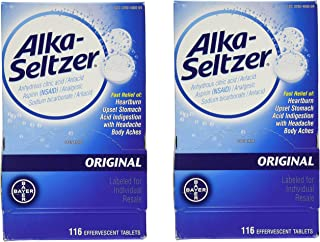 Alka-Seltzer Original Effervescent Antacid Tablets, 116 Count, Pack of 2