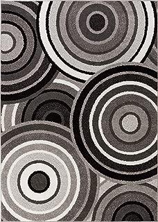 HomeWay Pattern Rugs - Ring Design Modern Area Rug Blue 5' x 7' Carpet