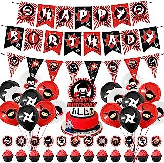 Ninja Birthday Party Decorations, Ninja Theme Party Supplies Happy Birthday Banner Balloons Cupcake Toppers for Boys Ninja...