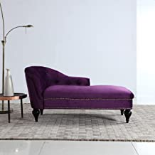 Divano Roma Furniture Kid's Chaise Lounge Indoor Chair Tufted Velvet Fabric, Modern Long Kid Size Lounger for Office or Living Room (Dark Purple)