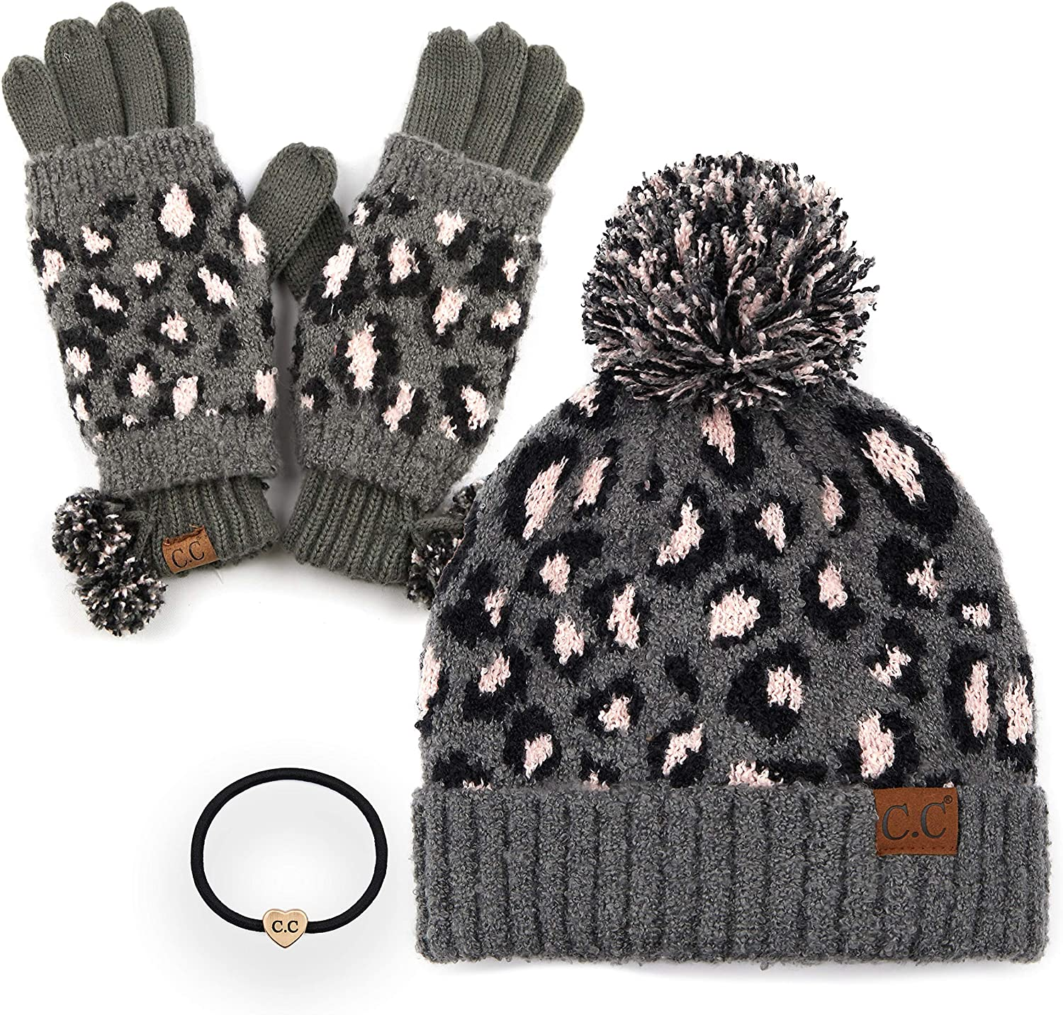 C.C Exclusives Under blast sales Soft Beanie hat with Fur and Pom latest Leopard Pattern