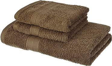 Amazon Brand - Solimo 100% Cotton 3 Piece Towel Set, 500 GSM (Sepia Brown)