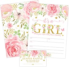 It's a Girl Floral Butterfly Baby Shower Invitation, Pink and Gold Flowers Sprinkle Invites with Diaper Raffle Ticket Card...